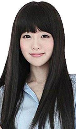 Dayiss® - Pelucas largas rectas de pelo largo sintético de color negro. Peluca/