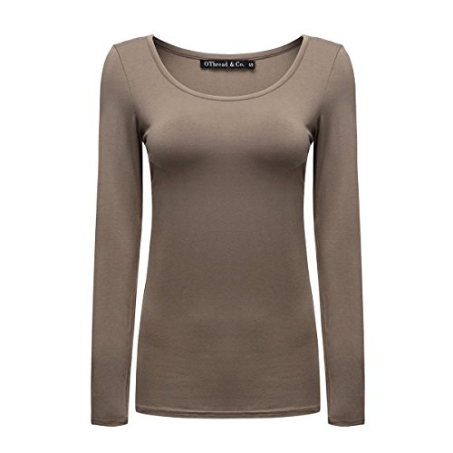 (OThread & Co. Women's Long Sleeve T-Shirt Scoop Neck Basic Layer Spandex Shirts (Large, Coffee))