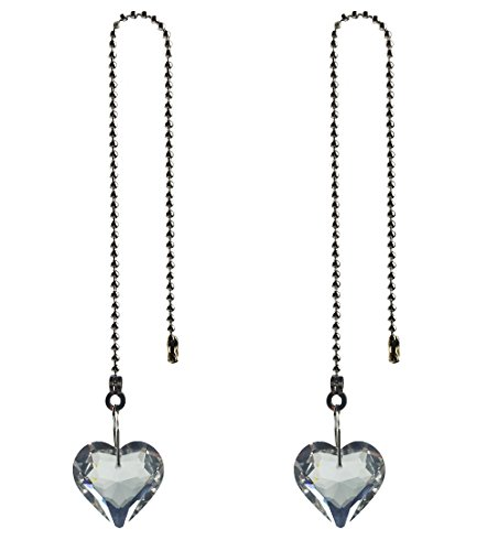 Hyamass 2pcs Crystal Heart Prisms Pendant Ceiling Fan Pull Chain Extender with Ball Chain Connector
