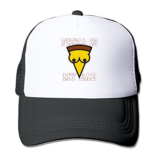 [Lihed Pizza Is My Bae Trucker Caps Sports Mesh Back Hat Black] (Pizza Delivery Man Costume)