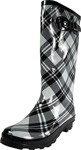 (NORTY - Womens Hurricane Wellie Gloss Hi-Calf Plaid Print Rain Boot, Black, Light Grey 39210-8B(M) US)