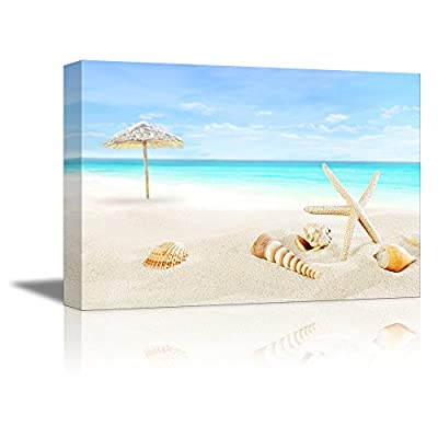 Scenery of Tropical/Summer Resort. White Beach with Starfish and Seashells | Gallery Wrapped Canvas & Ready to Hang - 16