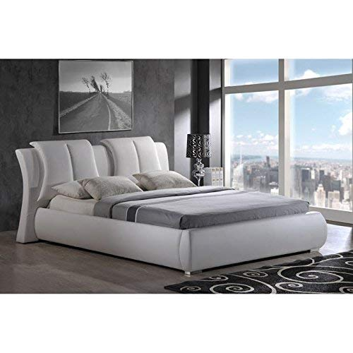 (Global Furniture Upholstered Bed, King, White)