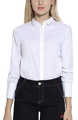 EOZY Femmes Couleur Unie Blouses Chemises Coton Blanc Manches Longues Tops