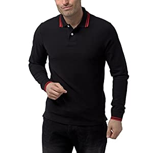 Charles Wilson Men's Long Sleeve Contrast Tipped Pique Polo Shirt