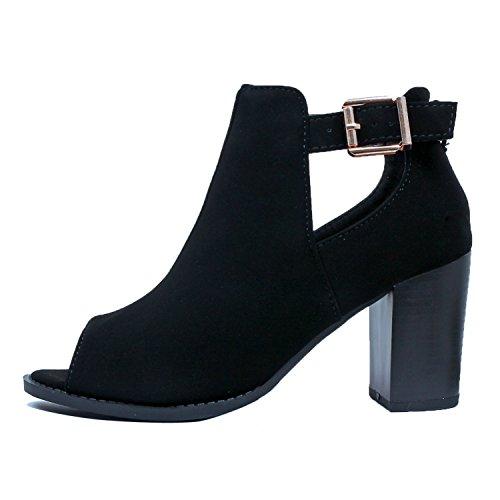 Guilty Shoes Womens Strappy Cut Out Gladiator - Open Toe Platform - Block Chunky Heel Sandals Heeled Sandals, Blackv3 Pu, 6 B(M) (High Heel Open Platform)