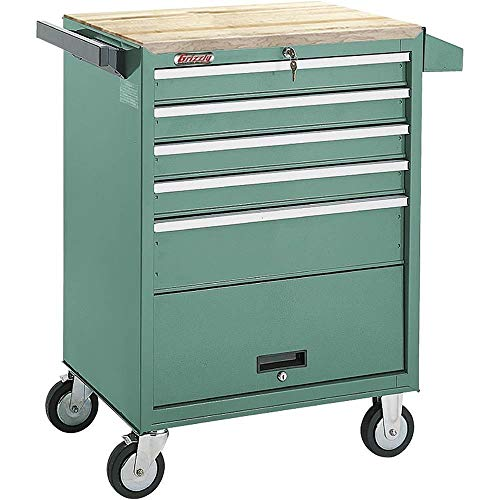 (Grizzly H0841 5 Drawer Roll-Cabinet with Bulk Storage Compartment)