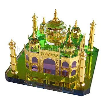 celebrationgifts Crystal Gold Taj Mahal Miniature Show Piece(Multicolour, 10x11x9cm)