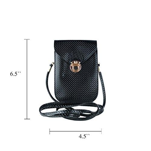 Honeymall Smartphone Universal Mini Umhängetasche (18x12x3cm) mit langem Riemen (130cm) geeignet für grosse Smartphones wie iPhone 7 Plus oder Samsung Galaxy A7 Mini PU Crossbody Handy Tasche Gold Schwarz DK6QsQ2