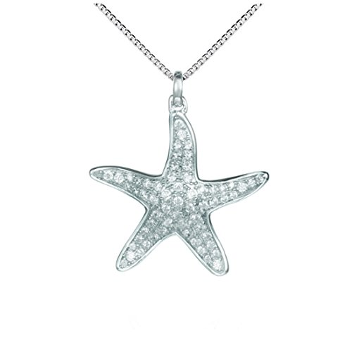 "Sterling Silver 925 Pave CZ Starfish Pendant With 18"" Box (Pave Starfish Pendant)"