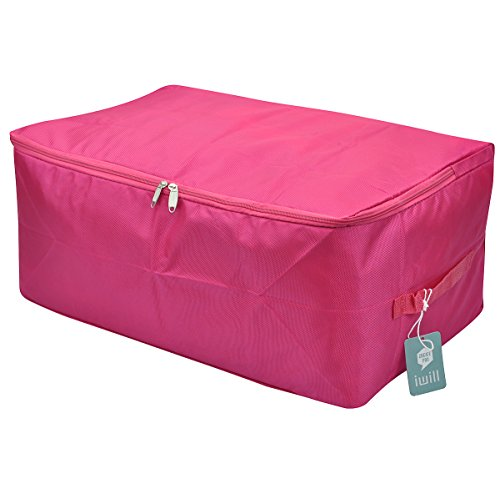 [Travel Organizer Bag, Storage Container for College Dorm-room, Waterproof and Dustproof, Attractive Colors(rosy Red, L)] (Attractive Zipper)