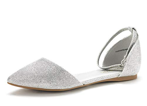 DREAM PAIRS Women's Flapointed-New Silver Glitter D'Orsay Ballet Flats Shoes - 8 M US
