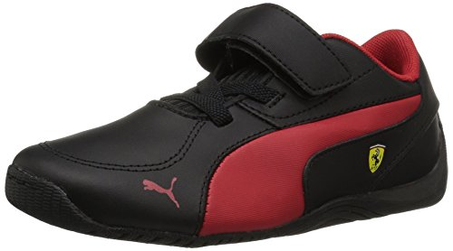 PUMA Unisex-Kids Drift Cat 5 L Ferrari NU Velcro Sneaker, Black-Rosso Corsa, 10.5 M US Little Kid ()