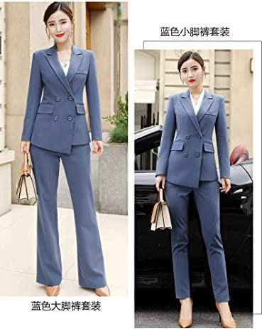 UUYUU Work Pant Suits OL 2 Piece Sets Double Breasted Blazer Jacket Trousers Suit For Women Set (Color : Blue, Size : XL)