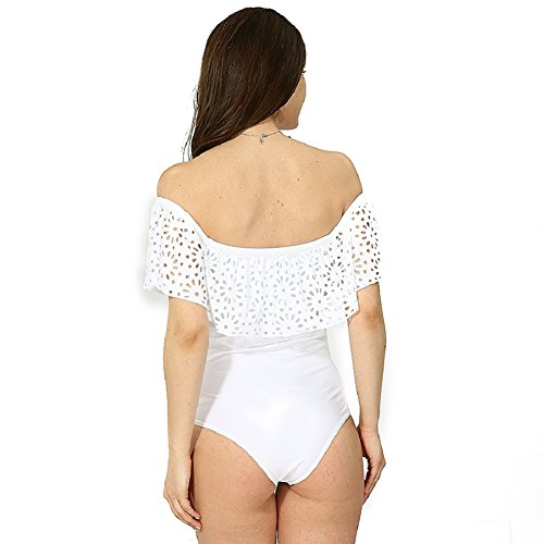 Shangrui Mujer Traje de Baño de la Serie Moda Hoja de loto color sólido Hombro plana Traje de baño de una sola Pieza(FZEH17050) Blanco