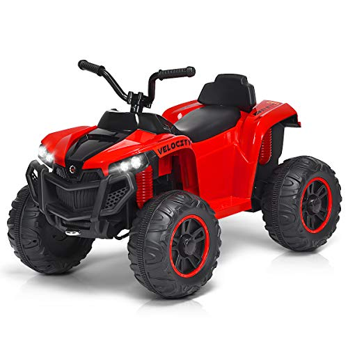 Costzon Kids Ride On ATV, 4 Wheels ATV Quad with Spring Suspension, Electric Toy, Kids Ride On Car with Headlights, Music and Story, 12V Battery Powered, Adjustable Volume (Red)