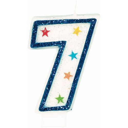 Star Studded Flat Molded Number 7 Celebration Candle, White
