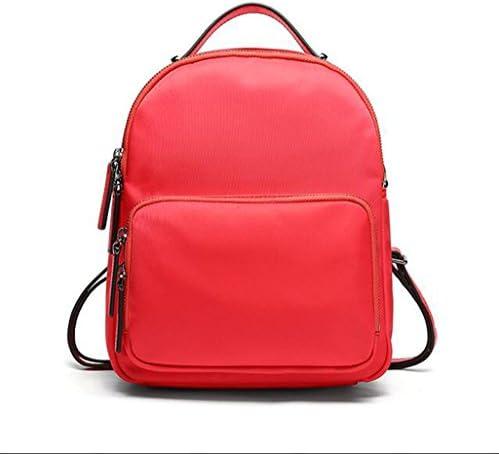 レディースナイロンラップトップバックパックリュックサックカジュアルパックマルチポケットカジュアル防水トラベルスクールバッグ(ブラックブルーレッド),Red,16.5*11.5*22Cm