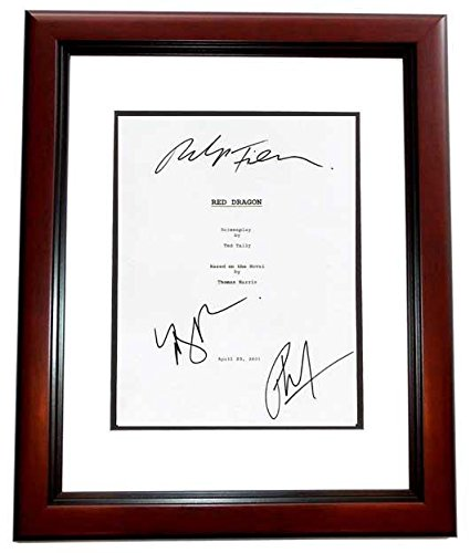 Red Dragon Signed - Autographed Script - Guaranteed to pass or JSA Cover by Ralph Fiennes, Mary Louise Parker, and Philip Seymour Hoffman - Deceased 2014 - MAHOGANY CUSTOM FRAME - Guaranteed to pass or JSA - PSA/DNA Certified