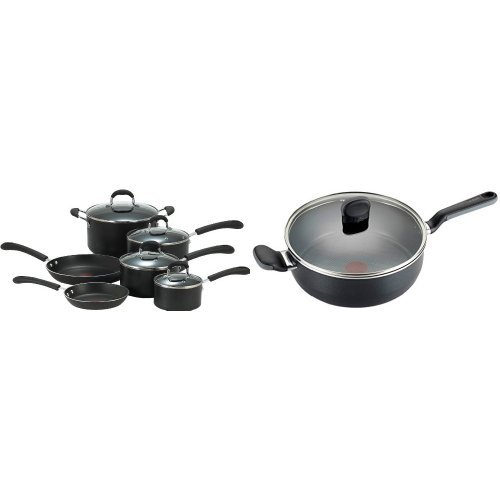 T-fal Thermo-Spot 10-Piece Cookware Set and 4.2 Quart Saute Pan Bundle, Black