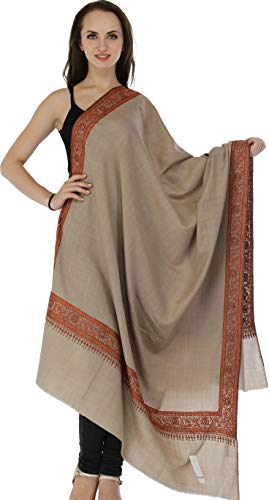 Exotic India Pure Wool Plain Shawl from Amritsar with Sozni Embroidery on Border - Color - Doeskin Wool