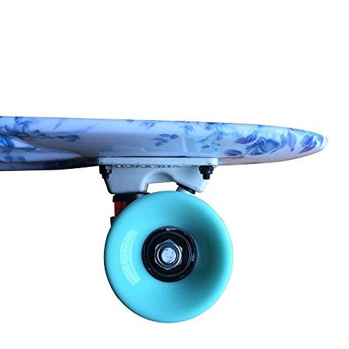 """CY Mini Cruiser Graphic Skateboards 22""""(56cm) - avec roulements ABEC-11 - en plastique - Floral"""