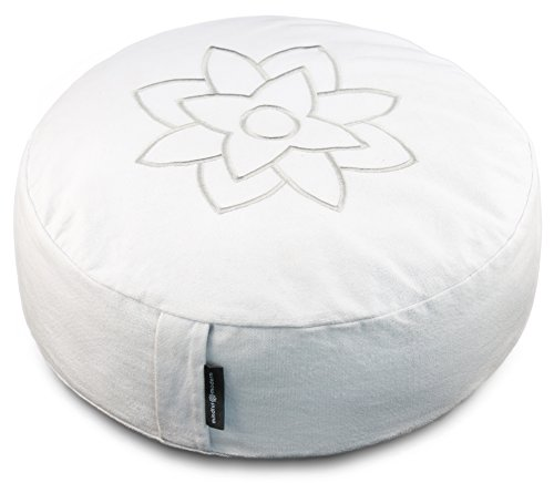 Large White Meditation Pillow Cushion by Mindful & Modern - Zafu Buddhist Yoga Bolster for Best Posture - Buckwheat Hull Filled Round Cushion with Removable Cover + Carry Handle (Pillows Sitting Large)