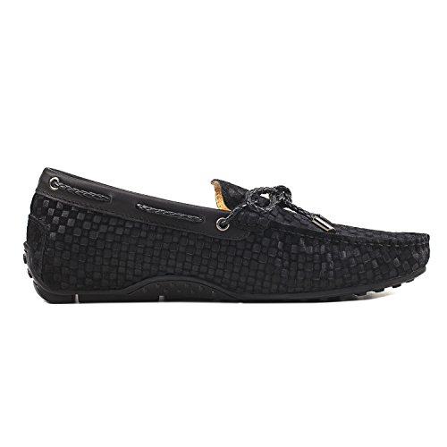 Zapatos Cómodos de con Gamuza D7166 de para Hombre Negro Moda Cordones Hombre Shenduo Mocasines 5X6AAw