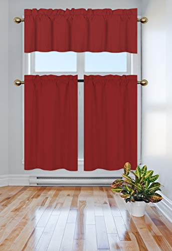 Elegant Home Collection 3 Piece Solid Color 90% Blackout Kitchen Window Curtain Set with Tiers and Valance Solid Thermal Room Darkening Drape Window Treatment # R3 MF (Red) (Red Curtains Kitchen)