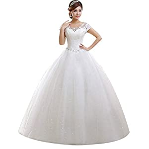 Eyekepper Double Shoulder Floor Length Bridal Gown Wedding Dress Custom Size