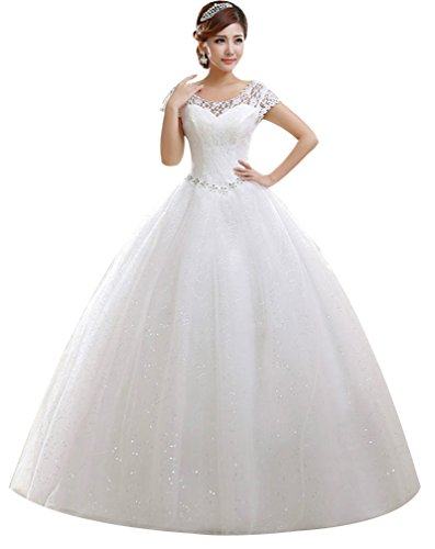 Eyekepper Double Shoulder Floor Length Bridal Gown Wedding Dress Custom Size White