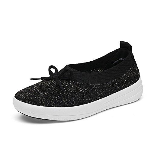 Zapatillas Enllerviid Mujer Flat Slip On Toning Casual Comfort Walking Sneaker Black