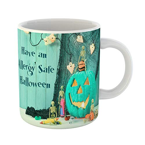 Emvency Coffee Tea Mug Gift 11 Ounces Funny Ceramic Teal Pumpkin Jack O Lantern Message Indicating Allergy Free Non Food Treats Gifts For Family Friends Coworkers Boss Mug