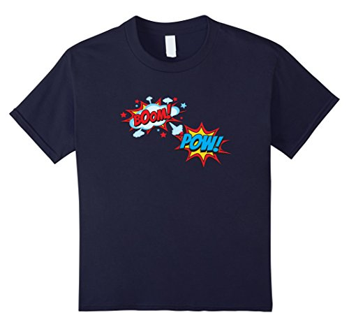 Kids Comic Book POW Shirt Funny BOOM Retro Superhero Costume 12 Navy - Drama Geek Costume