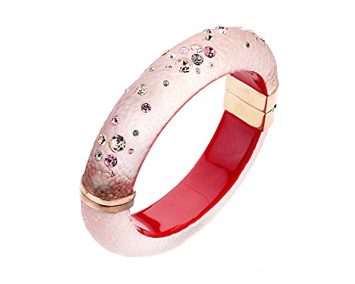 - Gold & Honey 1995 Handcrafted Pink Lucite Hinged Bangle with Colorful Confetti Crystals