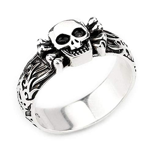 (Metalmadman Fashion Silver Rings 925 Sterling Silver Gothic Skull Rings Punk Biker Oxidized Treatment Band Vintage Skeleton Men Women Unisex Rings Size 8-12)