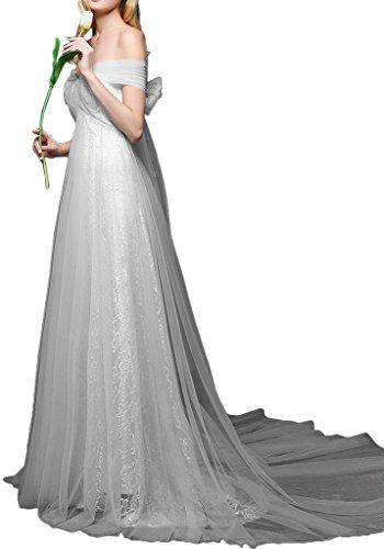 Da Abito Con Decorazione Bowknot Del Avril Abito Impero The Off spalla Glamour Grigio Sposa Di Nastro 1wwqFYd