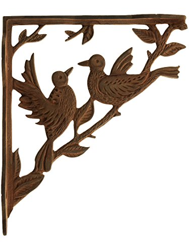 - House of Antique Hardware R-010SE-0700527 Dancing Birds Cast Iron Shelf Bracket in Rusted Iron