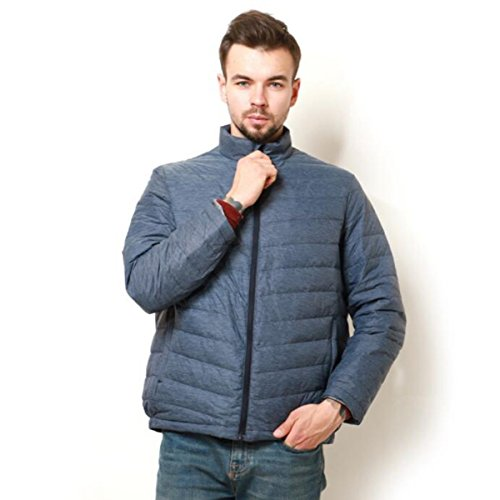 LINYI Paragraph Light Hooded Short Collar Jacket Men's Blue Winter Down XrTXZ