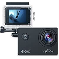 Topjoy Sports Action Camera 4K 16MP Underwater Action Camera with NTK96660 Chipset Sony IMX078 Sensor Gyro WiFi HDMI & AV Out Action Cam for Diving Bike Skiing