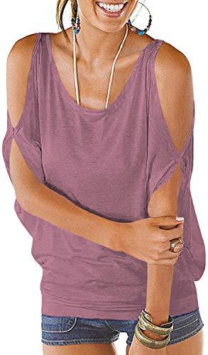 PINUPART Women's Summer Cold Shoulder Lace up Regular Fit Dolman Shirt Top L Light Purple
