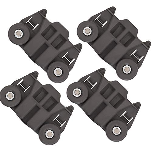 [UPGRADED] Ultra Durable W10195417 Dishwasher Track Replacement Part by Blue Stars - Exact Fit For Whirlpool & Kenmore Dishwashers - Enhanced Durability with Steel Screws - PACK OF 4