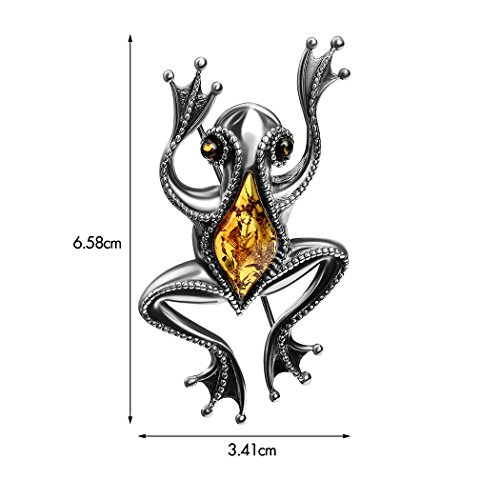 Amber Sterling Silver Frog Brooch by Ian and Valeri Co. (Image #2)