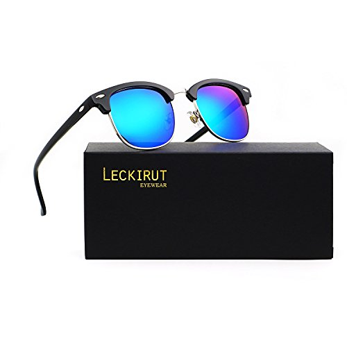 Leckirut Semi Rimless Polarized Sunglasses Women Men Retro Sun Glasses Mirrored lens bright black silver frame/green - 1 In Sunglasses 2