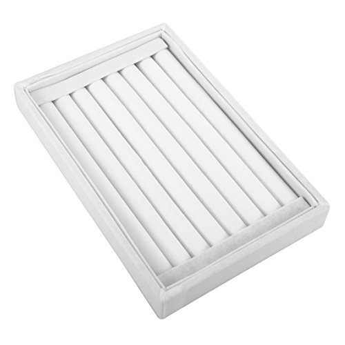 Earring Display Tray - VALYRIA Velvet 7 Slots Ring Earrings Trays Showcase Display Jewelry Organizer (White)