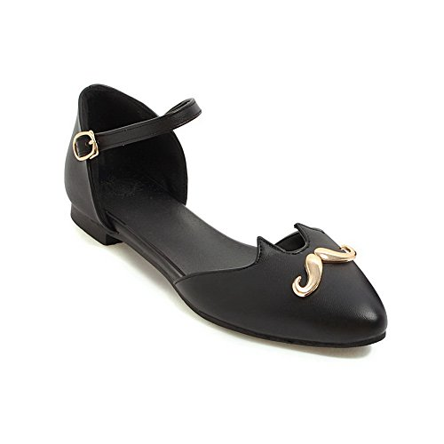 AN Womens Hollow Out Electroplate Heel Pointed-Toe Urethane Sandals DIU00582 Black qAnd5aH