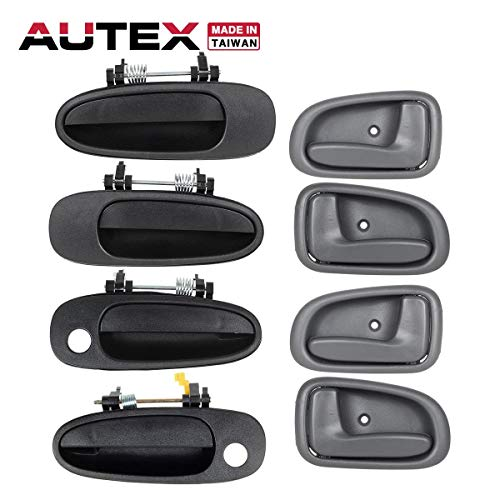 AUTEX 4pcs Exterior + 4pcs Interior Door Handles Front Rear Left Right Driver Passenger Side Compatible with Toyota Corolla,Geo Prizm 1993-1997 Door Handles 79505 79504 77423 77422 77464 77462