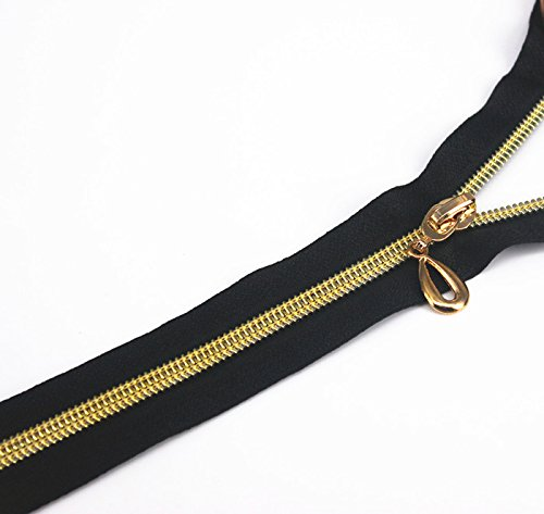 5pieces 40cm Length Zippers Black Open End Metal Gold Teeth Sewing Zippers Accessories For Jeans Casual Pants Placket (Teeth Replacement Adult Adhesive)