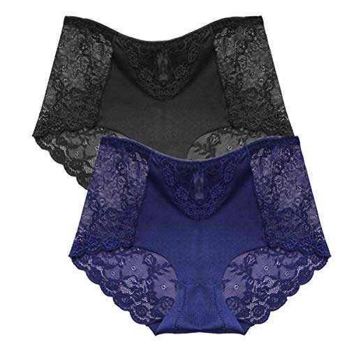 (Womens Lace Underwear,Soft Seamless Sexy Lace Underwear Briefs Underpants Panties for Women (Black+Blue, Small))