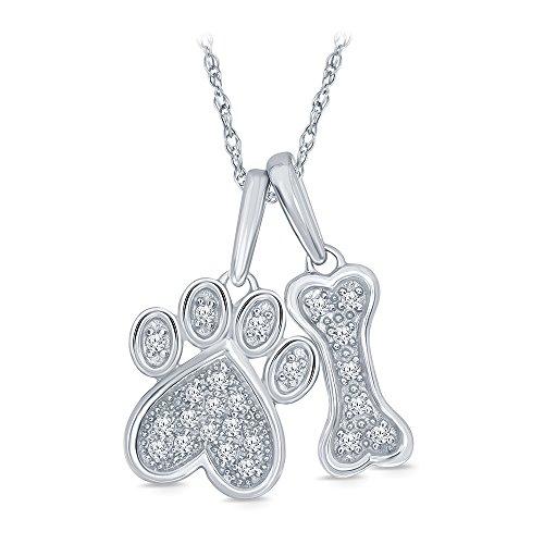 La Joya 1 10 ct Round White Diamond Dog Bone Paw Pendant in 925 Sterling Silver for Teens Womens